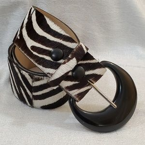 Ann Taylor Zebra Print Haircalf Belt (S) #760